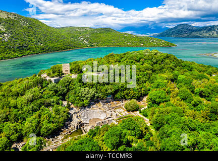 Aerial view of Butrint archaeological site in Albania - Stock Image