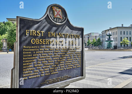 Montgomery Alabama, USA, historical marker commemorating the first observance of the Emancipation Proclamation in 1866, along Commerce Street. - Stock Image