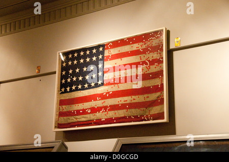 USA, Indiana, Indianapolis, Indiana War Memorial, regimental flag from Civil War - Stock Image