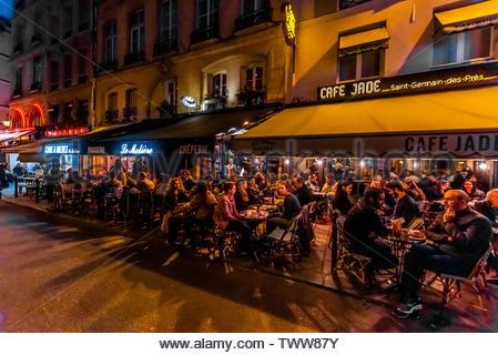Sidewalk cafe Bar du Marche, Rue du Buci, Left Bank, Paris, France. - Stock Image