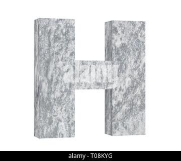 Concrete Capital Letter - H isolated on white background. 3D render Illustration - Stock Image