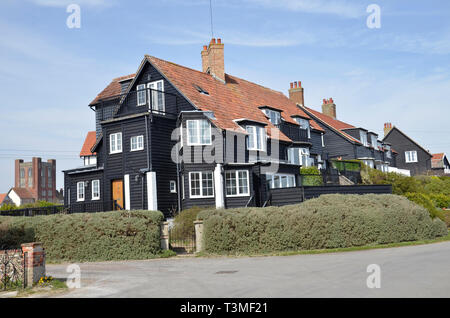 Clapperboard houses in the Suffolk coastal village of Thorpeness, formerly a privately owned village - Stock Image