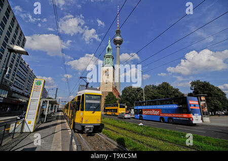 Alexanderplatz, Berlin: Fernsehturm (TV Tower) and tramway station. Germany - Stock Image