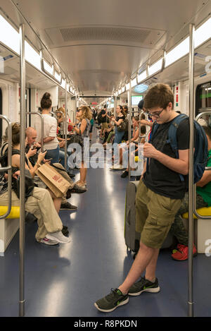 Vertical view of the Metro in Milan, Italy. - Stock Image