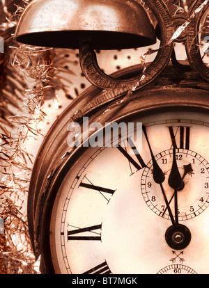 Vintage alarm clock in close up - Stock Image