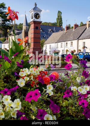 Victorian Clock Tower Twyn Square Usk Gwent Wales - Stock Image