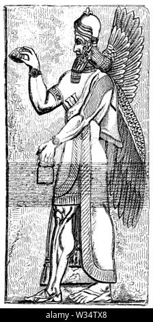 Deity from Nimrud, ,  (cultural history book, 1875) - Stock Image
