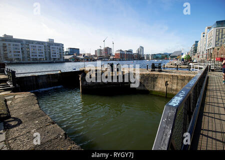 Westmoreland Lock built in 1796 part of the grand canal docks lock gates Dublin Republic of Ireland Europe - Stock Image