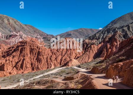 Argentina, Jujuy province, Quebrada de Humahuaca listed as World Heritage of UNESCO, Pumamarca village, camino de Los Siete Colores - Stock Image