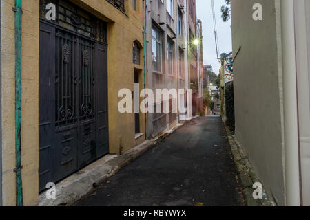 city alley in  the early morning - Stock Image
