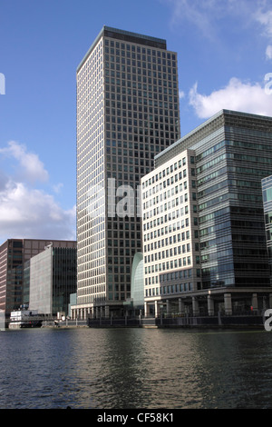 Docklands skyscraper London view from South Quay - Stock Image