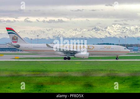 A6-AFE Etihad Airways Airbus A330-343 at Malpensa (MXP / LIMC), Milan, Italy - Stock Image