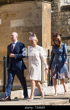 Windsor, UK. 21st April 2019.Mike and Zara Tindall and Princess Beatrice arrive to attend the Easter Sunday Mattins service at St George's Chapel in Windsor Castle. Credit: Mark Kerrison/Alamy Live News - Stock Image