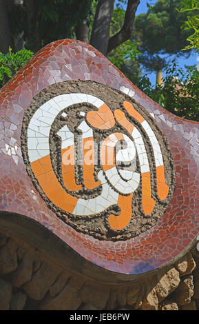 logo of Güell park, Barcelona, Spain - Stock Image
