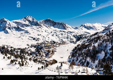 View from mountain looking over Obertauern, Austria - Stock Image