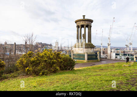 EDINBURGH, SCOTLAND - FEBRUARY 9, 2019 - The Dugald Stewart Monument is a memorial to the Scottish philosopher. It is situated on Calton Hill - Stock Image