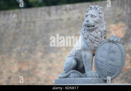 Temporary return of the Menin Gate Lions with shield in Ypres - Stock Image