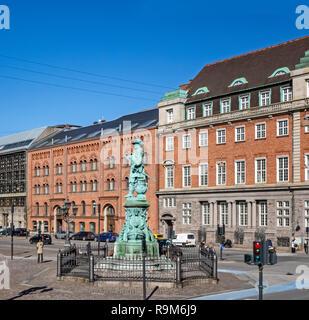 Statue of danish - norwegian admiral Niels Juel at Holmens Kanal in central Copenhagen Denmark Europe - Stock Image