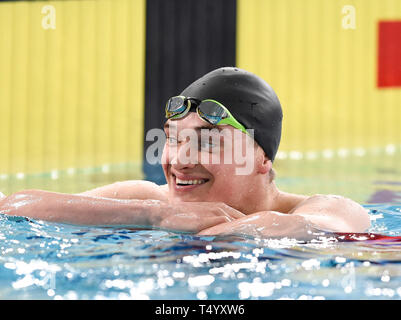 James Wilby after winning his heat of the Men's 200 Breaststroke during day four of the 2019 British Swimming Championships at Tollcross International Swimming Centre, Glasgow. - Stock Image