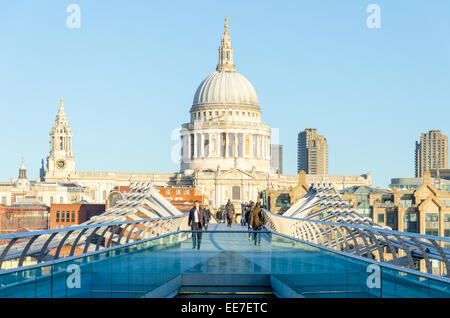 View of St Paul's Cathedral from the south bank side of Millenium Bridge. London, UK - Stock Image