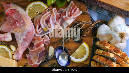 Top down view of infredients for a delicious Caesar's salad - Stock Image