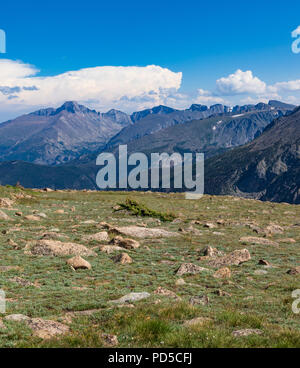 Sunny Colorado Rockies, with rock field in front, dramatic  blue-grey mountains behind, and bright blue sky above, with puffy clouds. - Stock Image