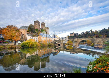 Runkel Castle and old stone bridge across the Lahn river in Runkel, Hesse, Germany - Stock Image