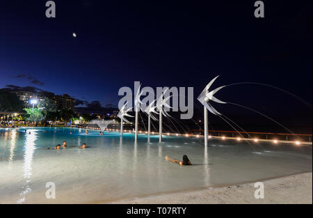 People swimming in the illuminated Lagoon with fish sculptures on Cairns Esplanade in the evening, Far North Queensland, FNQ, QLD, Australia - Stock Image