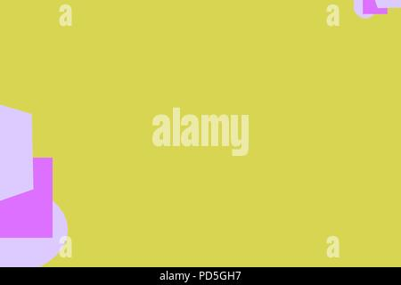 A yellow background with pink geometric shapes and copy space - Stock Image