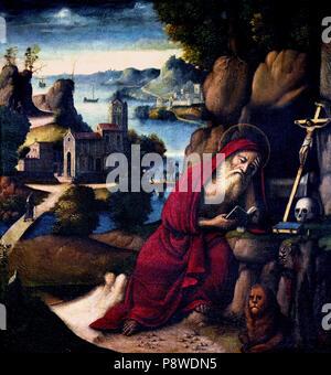 Meditazione di San Girolamo in un paesaggio -  Meditation of St. Jerome in a landscape by Workshop of the Santacroce (   Girolamo da Santacroce 1480/85 – 1556 ),Italy, Italian. - Stock Image