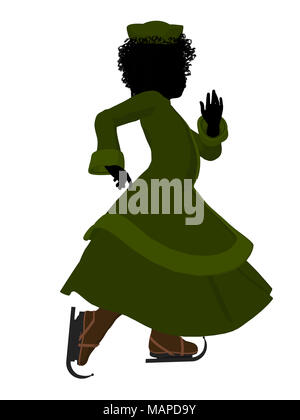African american victorian girl on ice skates silhouette on a white background - Stock Image