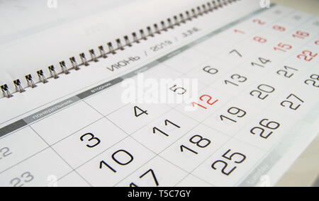 Month June 2019 and the dates shown in the calendar close-up. - Stock Image