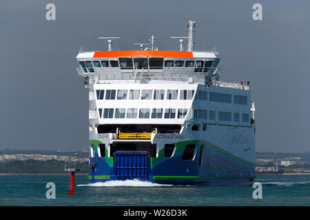 Green,energy,electric,diesel,charged,car,ferry, Wightlink, Victoria of Wight, Portsmouth,Fishbourne, ferry, Isle of Wight, Pop,Festival,Transport, Eng - Stock Image
