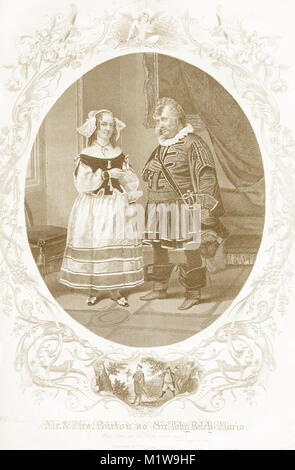 Engraving of the Shakespearean characters Sir Toby Belch in Twelfth Night, acted by the Americans, Mr and Mrs Burton. - Stock Image