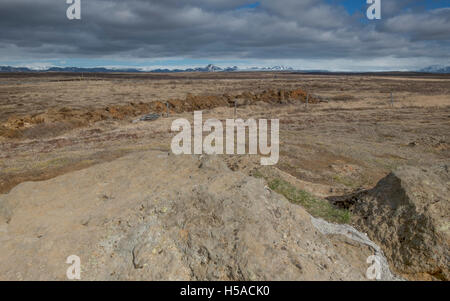 View inland from Geysir, Iceland - Stock Image