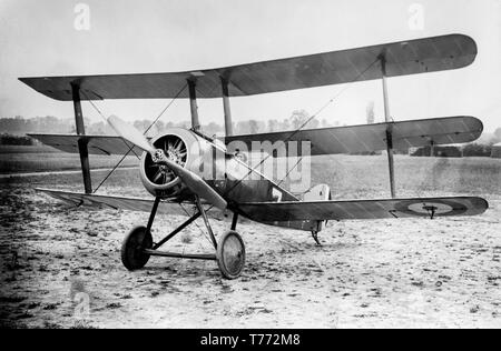 A contemporary World war One black and white photograph of a British Royal Air Force, Royal Flying Corps, Sopwith Triplane aircraft. - Stock Image