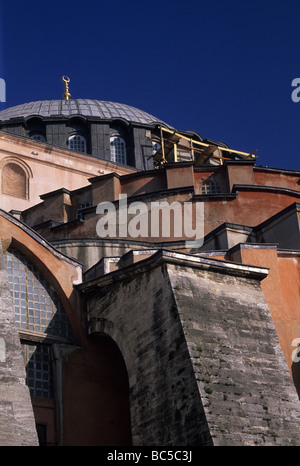 Crop of buttresses and domes of Aya Sofya Istanbul Turkey - Stock Image