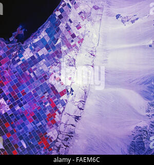 historical infrared aerial photograph of Salton Sea, California,1972 - Stock Image
