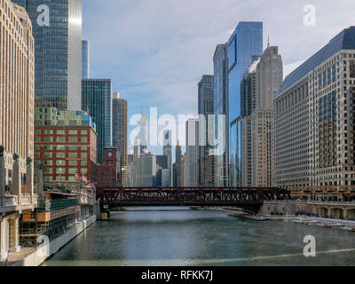 Chicago River viewed from Franklin Street Bridge. Winter. - Stock Image