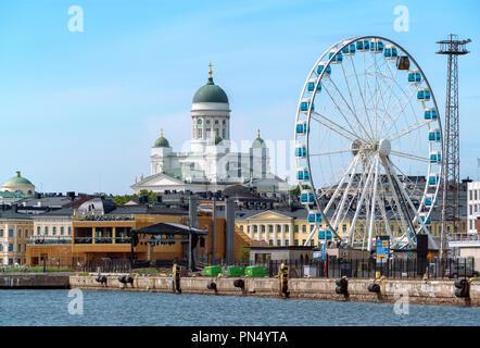 Helsinki skyline with Cathedral and Skywheel Sky Wheel ferriswheel Ferris Wheel in summer. Waterfront Helsinki Finland - Stock Image