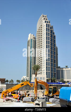 Dubai,United Arab Emirates-February 07, 2014: Construction site for a new office building - Stock Image