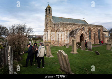 Lindisfarne or Holy Island, Northumberland coast south of Berwick-on-Tweed, England. Parish church of St Mary the Virgin. - Stock Image