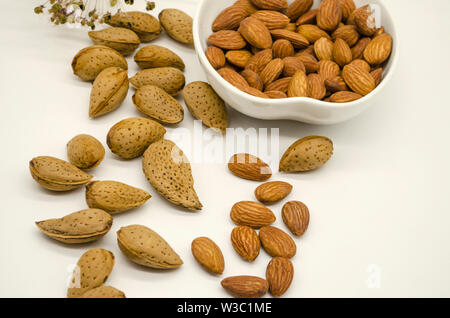 Peeled almonds in white porcelain bowl next to untreated almond seeds and dry flower on white background - Stock Image