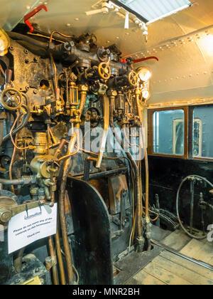 Drivers cab of Ex- LMS Class 5 Steam Locomotive number 5000 at NRM Locomotion Shildon Co. Durham England UK - Stock Image