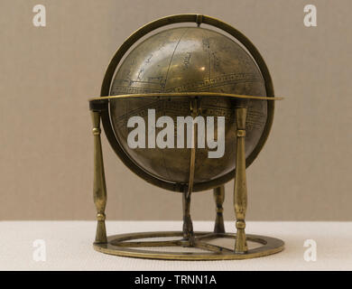Brass Globle/Astrological Object with Two Different Date Inscriptions. 1141 AD & 1887 AD, Seljuq Dynasty & Qajar Dynasty. Isfahan Province, Iran. - Stock Image