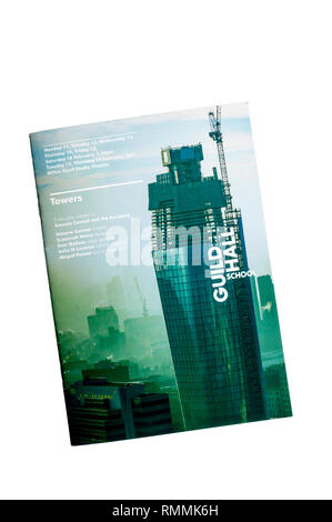 Programme for the Guildhall School of Music & Drama 2019 production of Towers by Ameera Conrad & the Company at the Milton Court Studio Theatre. - Stock Image
