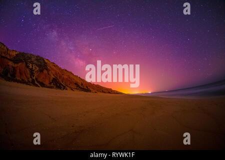 The night sky at Praia de Galé beach on the Portuguese Alentejo coast - Stock Image