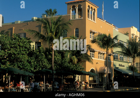 Miami Florida FL South Beach sidewalk restaurant on Ocean Drive - Stock Image
