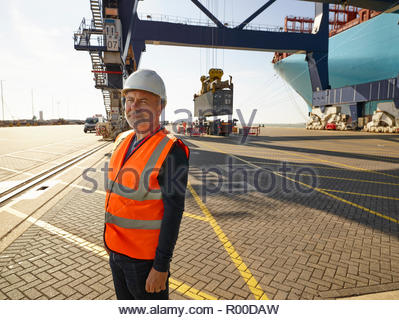 Dock worker at Port of Felixstowe, England - Stock Image