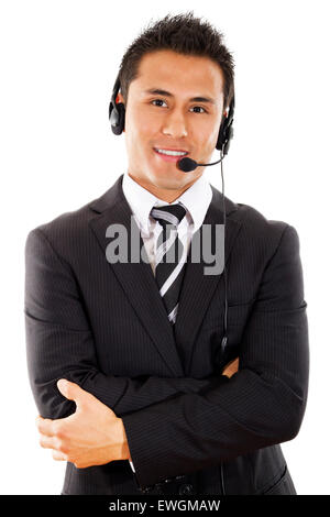 Stock image of male call center operator isolated on white background - Stock Image